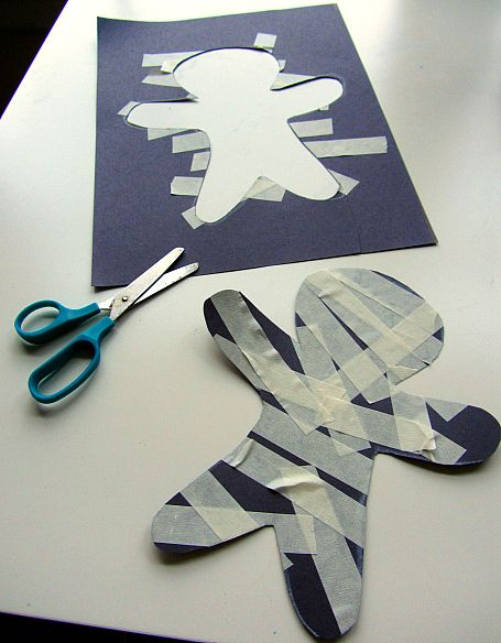 Masking Tape Mummy Halloween Craft For Kids - No Time For Flash Cards