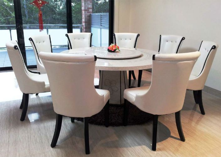 Top Gorgeous White Marble Round Dining Tables Dining Area - Marble top circle dining table