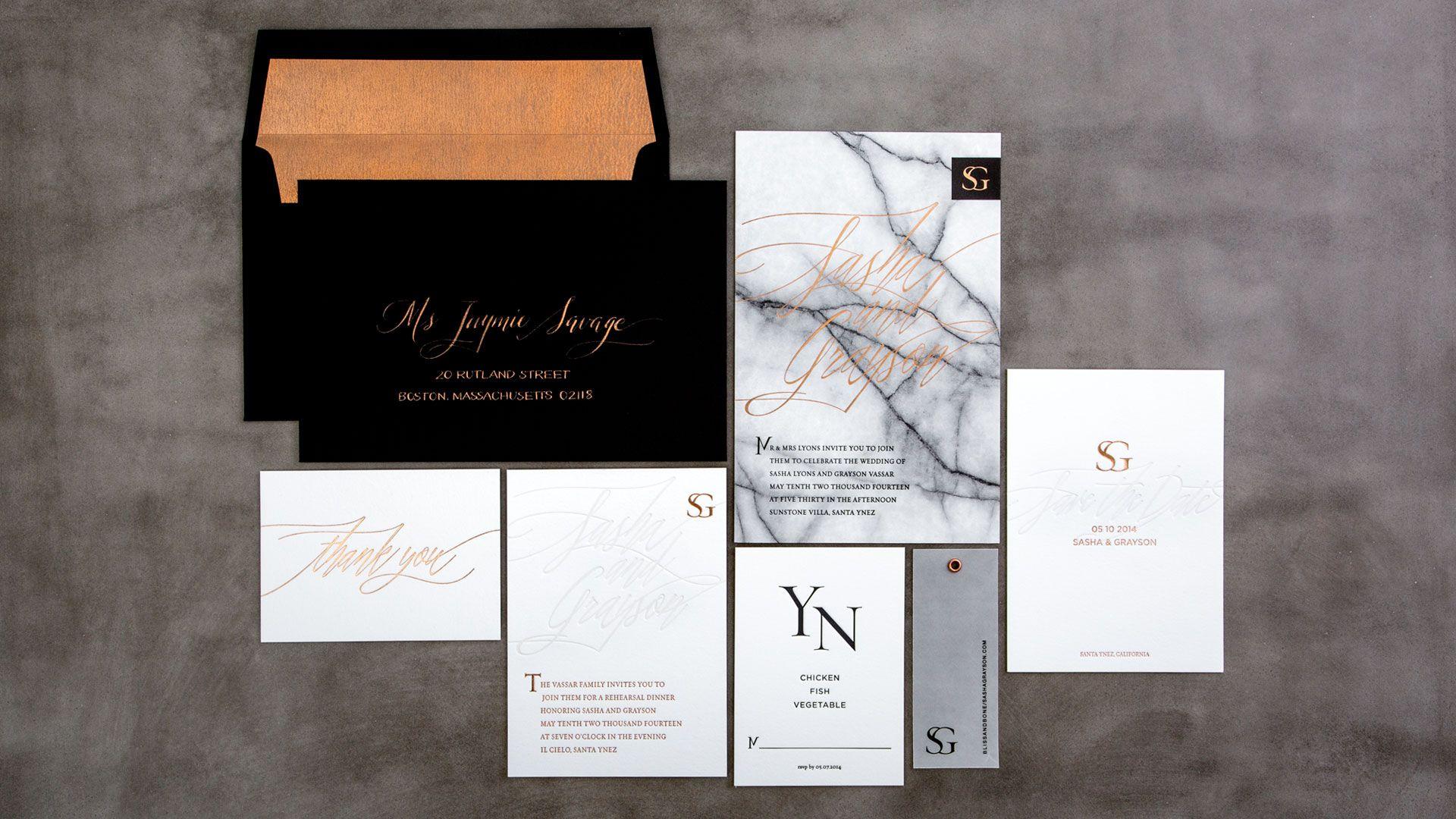 Letterpress & Foil Invitation Collection / Copper / Black / White ...