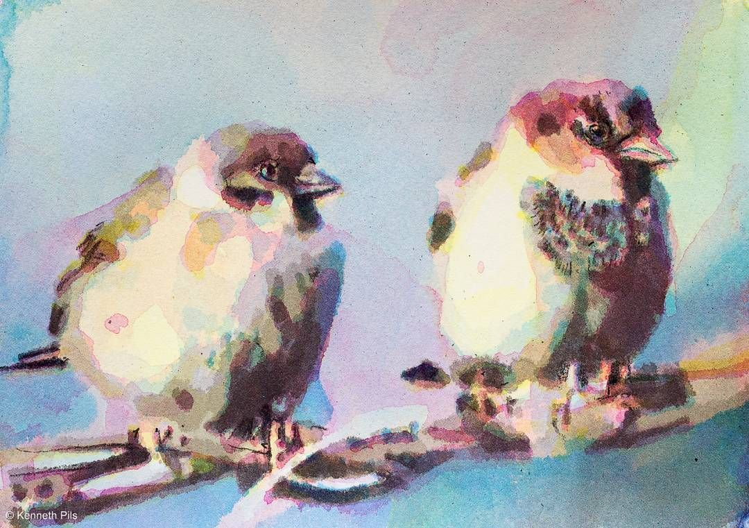 House Sparrow Aquarelle Acrylic Painting On Paper 21x15cm Kpils Contemporaryart Artecontemporaneo Zeitgenossisc Art Painting