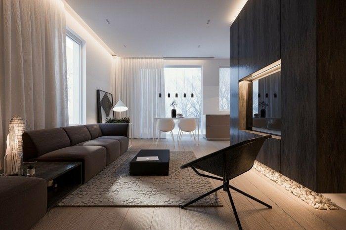 minimalistisch wohnen schönes wohnzimmer gemütliche farben dunkle