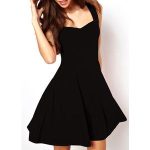d130c85f4dc15 Rotita Black Square Neckline Sleeveless Skater Dress