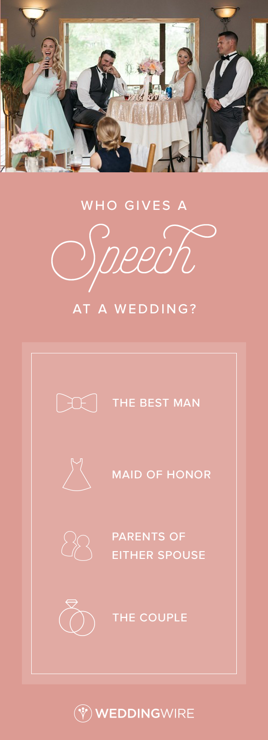 Who Gives A Speech At A Wedding Confused About Who Should Speak At Your Reception Get All The Details About Wed Wedding Speech Wedding Toasts Wedding Wire