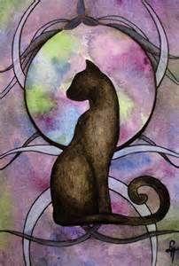 Black cat art watercolour