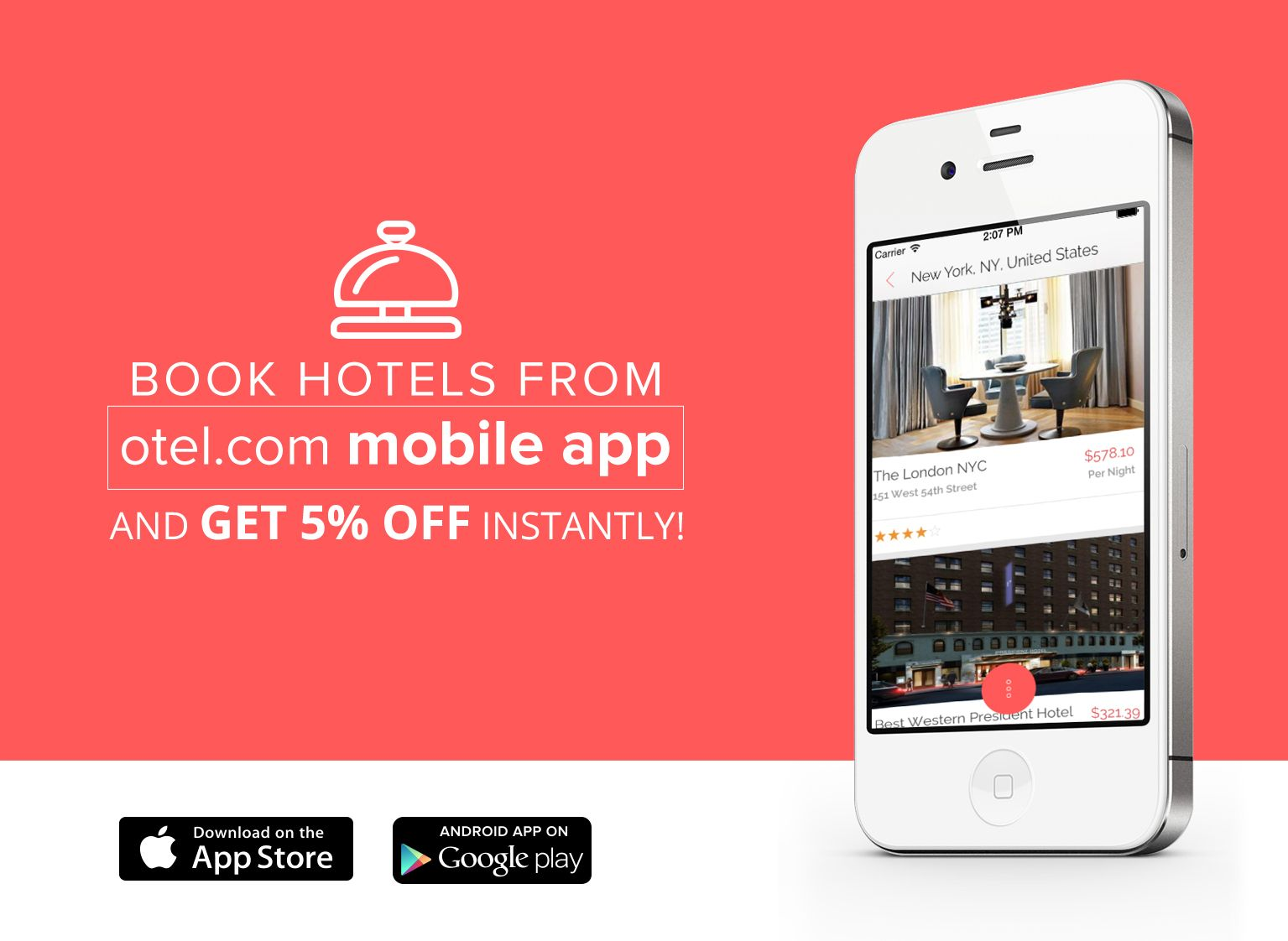 Otel Com Mobile App Banner Application Design Banner Hotel