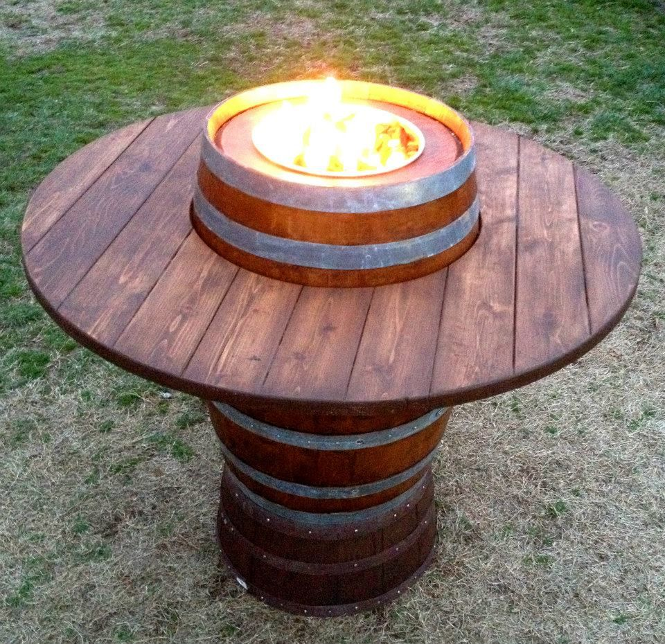 Bar height wine barrel fire pit table click on this photo