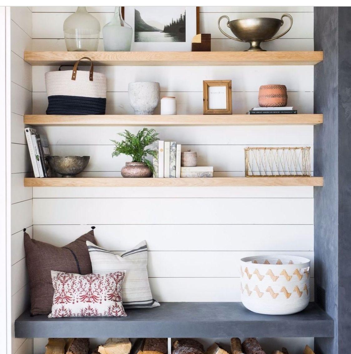 Shelves and concrete | Shelves, Wood storage, Living room ...