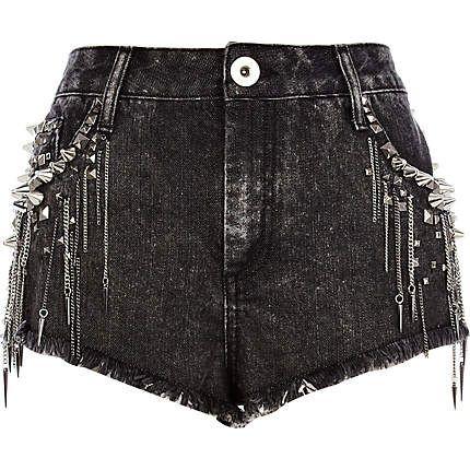 c552bdd98e Black studded chain denim shorts River Island $45   Spring X Summer ...