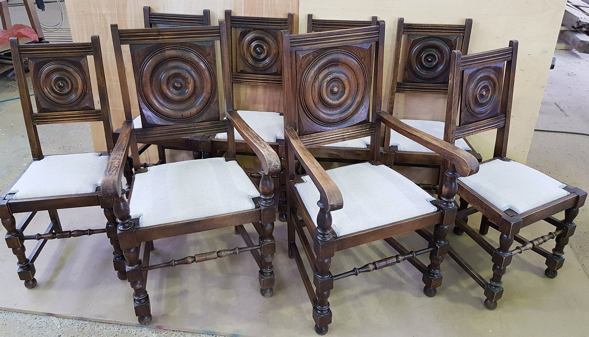 Set Of 8 Solid Reupholstered French Oak Wood Antique Dining Chairs Antique Dining Chairs Antique Dining Room Chairs Dining Chairs For Sale