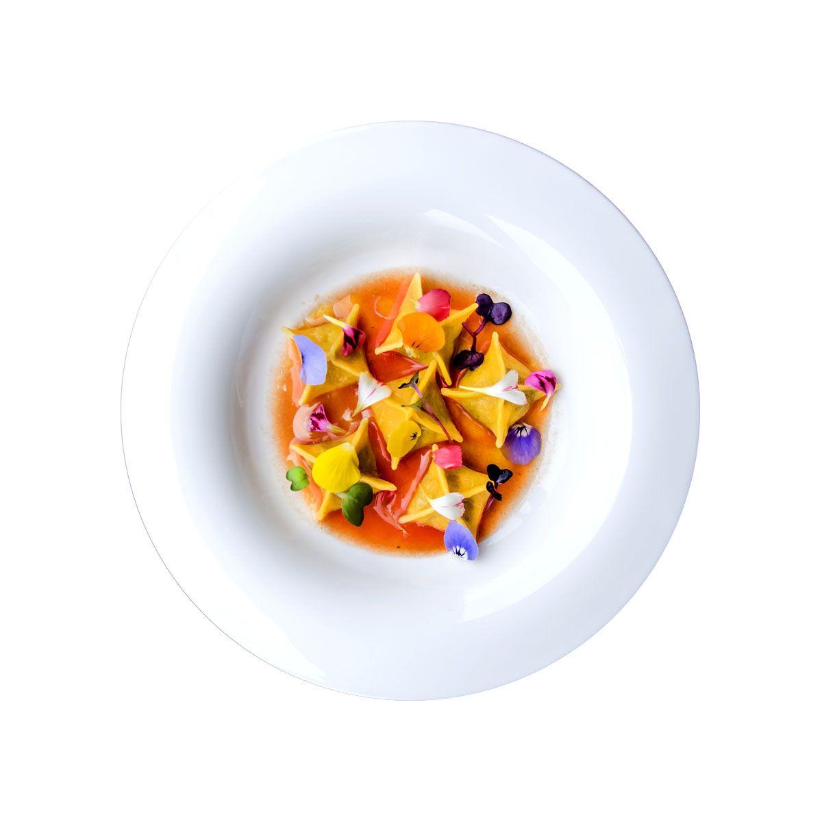 Ravioli al gorgonzola e colatura di pomodori. Agriturismo Torino Cantina Nicola.