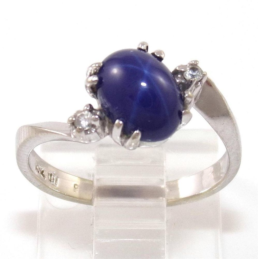 10k White Gold Blue Star Sapphire Ring Size 6 Blue Star Sapphire Ring Blue Star Sapphire Star Sapphire Ring
