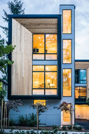 West Seattle Townhomes A Series Of Efficient And Modern Three Story Townhouses Designed For Urban Living Townhouse Designs Architecture Facade Design