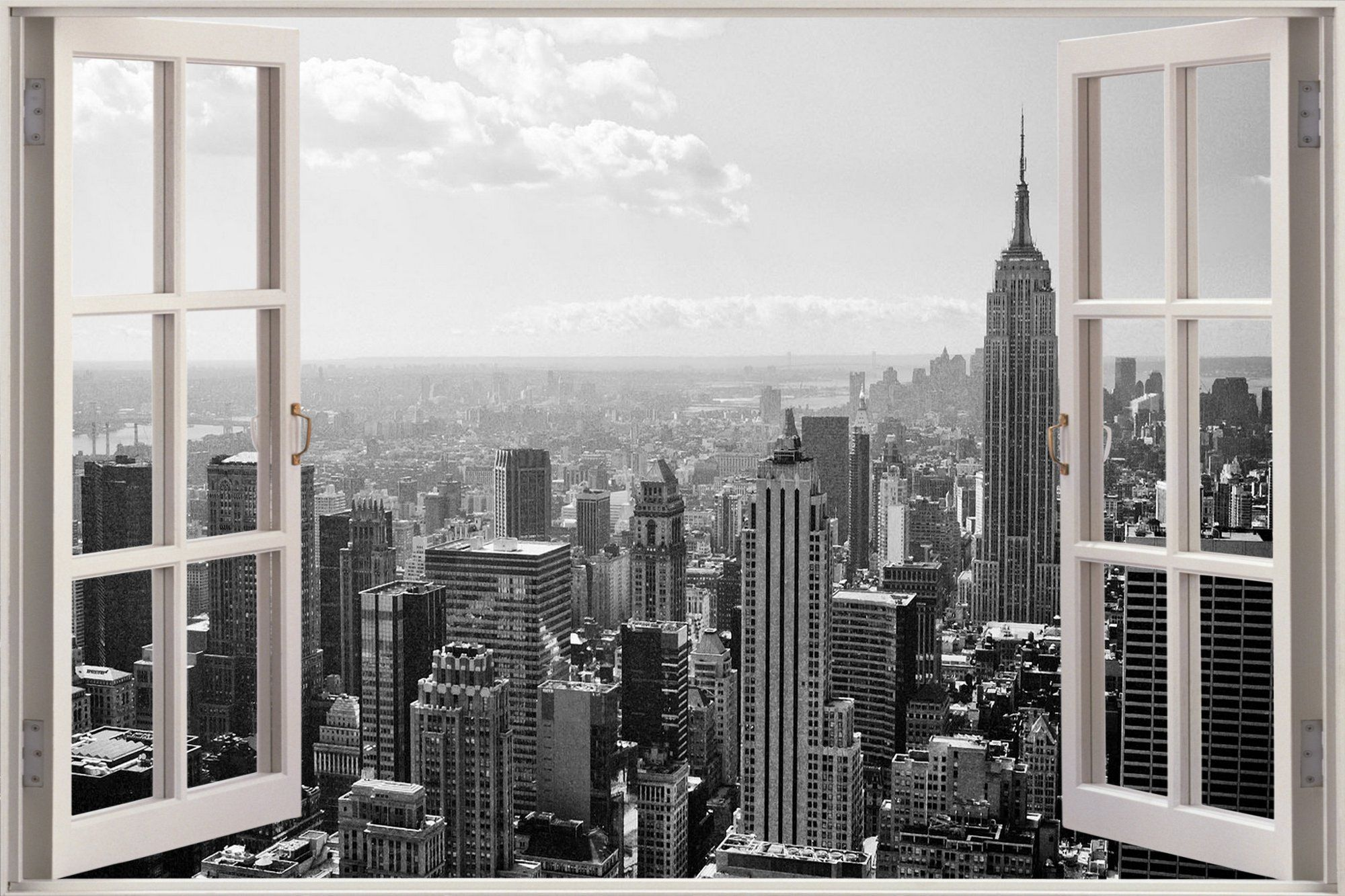 Huge 3d window new york city view wall stickers mural film for New house wallpaper