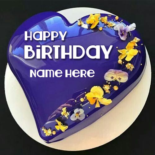 mirror glaze shiny blue heart birthday cake with name