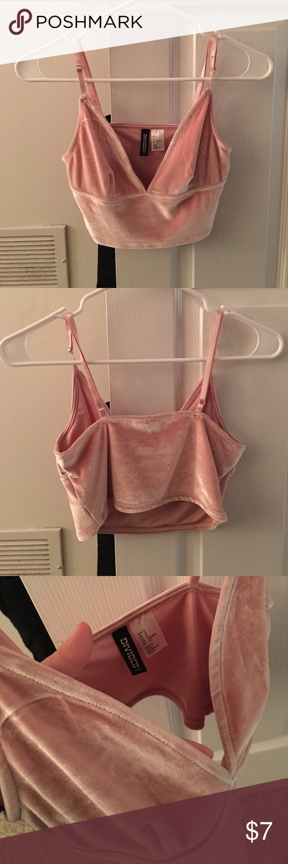 58d3e195274 H&M Velvet Crop Top light pink velvet crop top from h&m that has a deep v  cut and no bra padding- never been worn before! Divided Tops Crop Tops