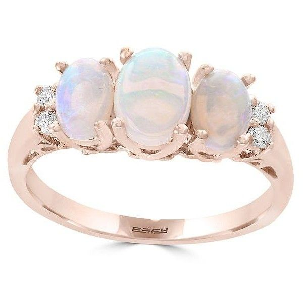 Effy Diamond and ThreeOpal Ring 1300 liked on Polyvore