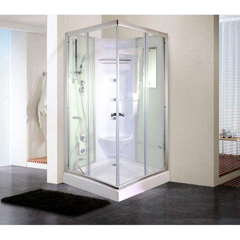 35 5 X 81 Square Sliding Shower Enclosure With Base Included In 2020 Corner Shower Shower Enclosure Corner Shower Stalls