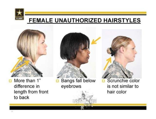 Army Unauthorized Hairstyles For Women Military Hair Military Haircut Womens Hairstyles