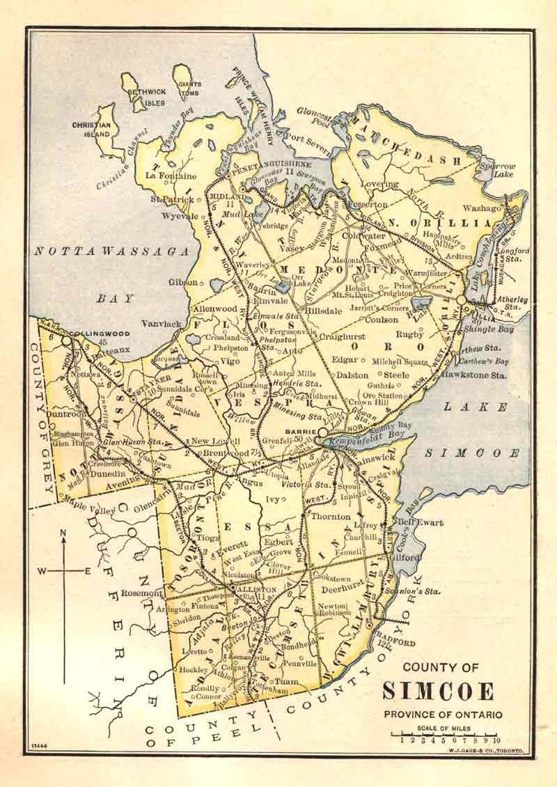 Simcoe County Township Map 1885 Genealogy Pinterest