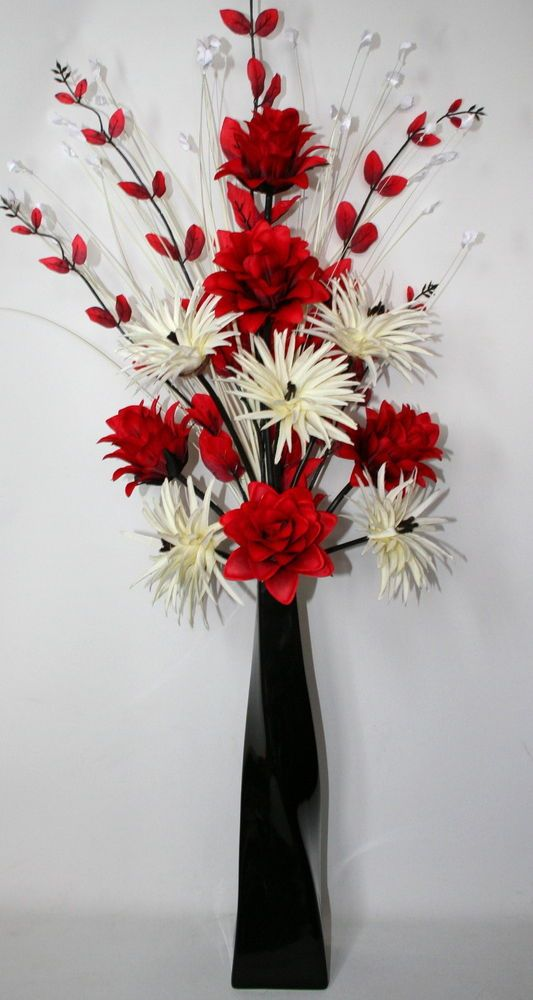 Artificial silk flower arrangement red cream in large black vase artificial silk flower arrangement red cream in large black vase 100cm high mightylinksfo