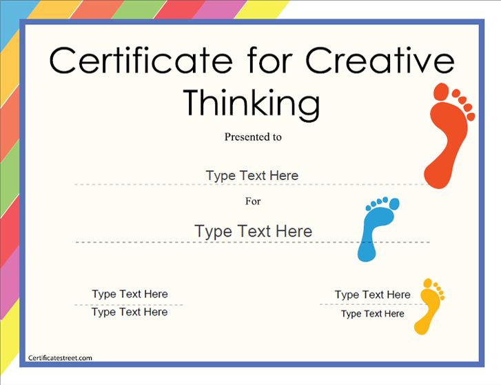 education certificate certificate for creative thinking