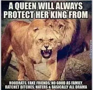A queen protects her king.