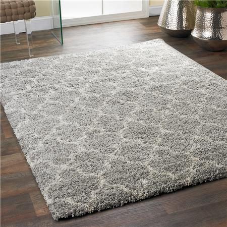 Lofty Trellis Plush Area Rug Gray Ivory 7 10 X 649 Polypropylene Shadesoflight