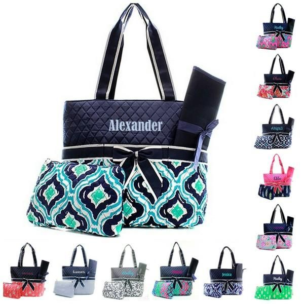 Personalized Diaper Bag Quilted Baby Tote Changing Pad Buyable
