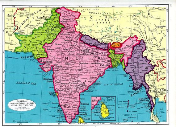 Items similar to India South Asia Map and Afghanistan Map 1960s Cram