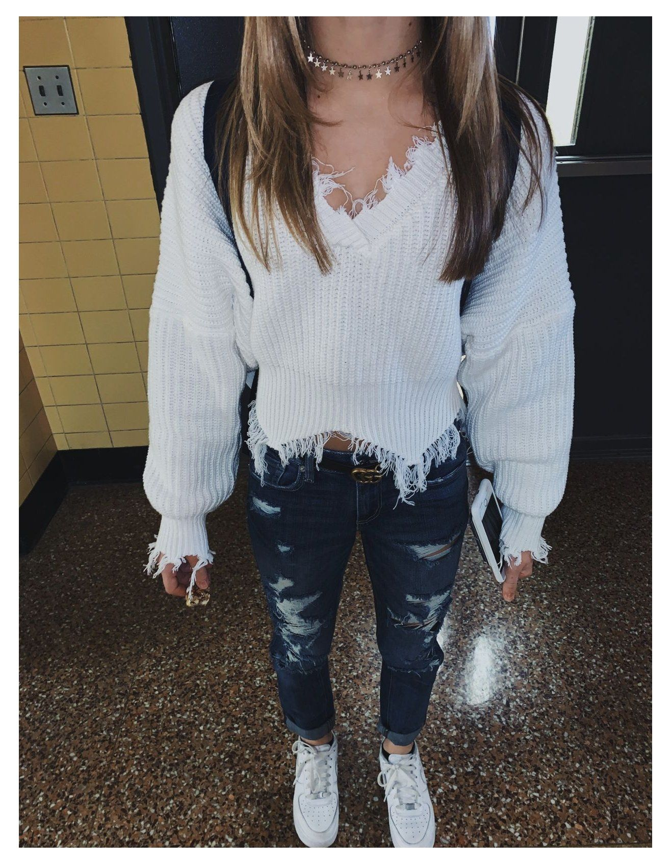 cute outfits with air force 1 for school