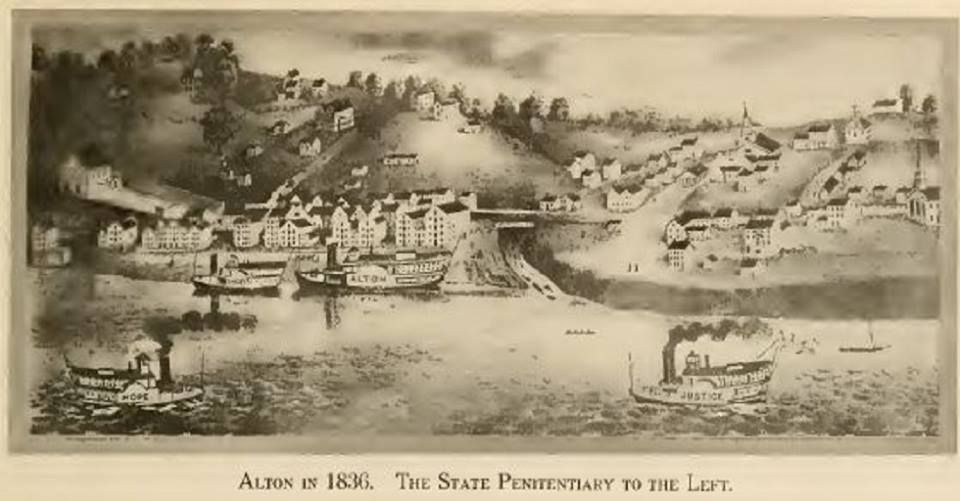 Alton Illinois in 1836 The State Penitentiary to the left