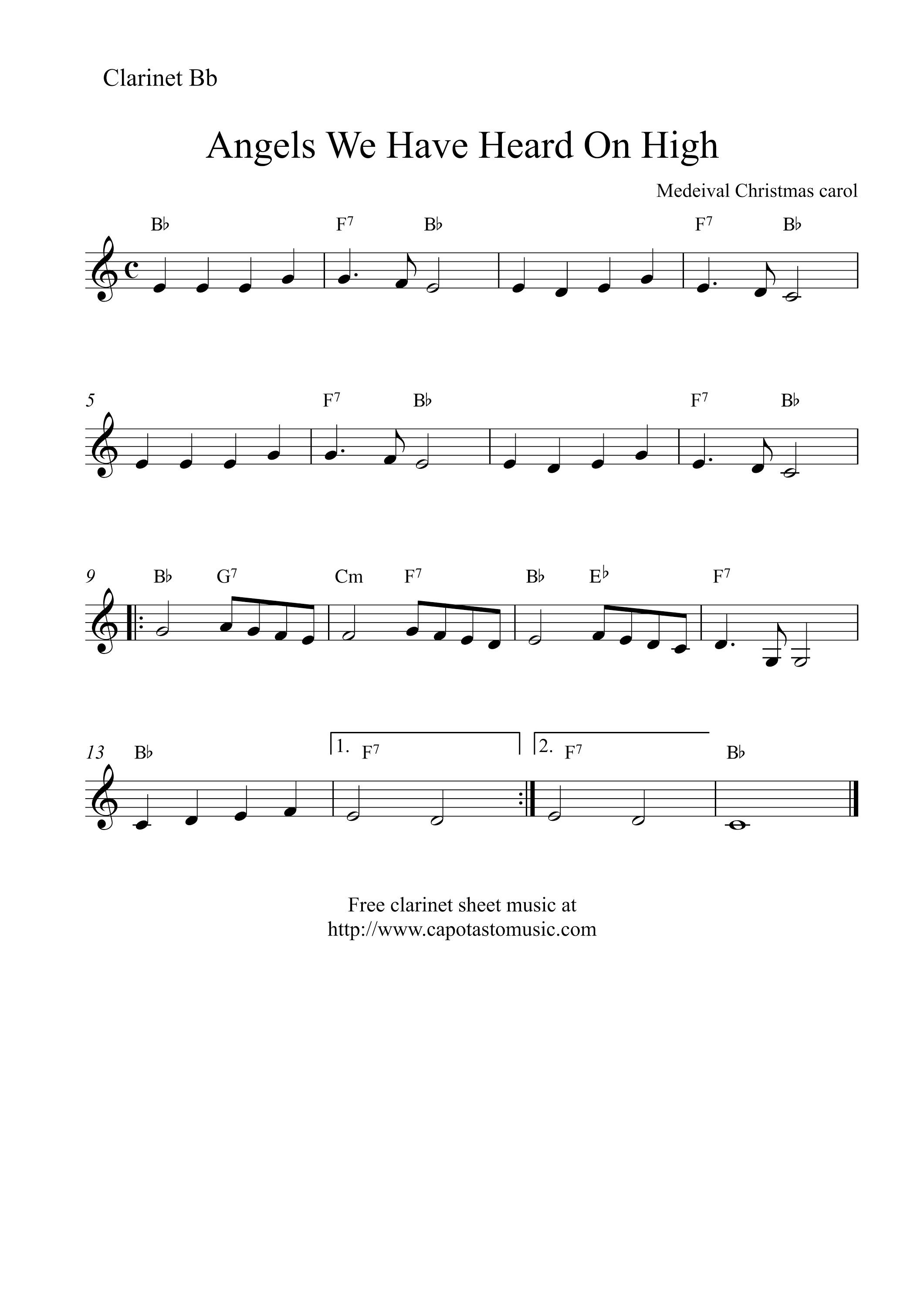 Clarinet Sheet Music Christmas.Image Result For Easy Christmas Songs For Clarinet