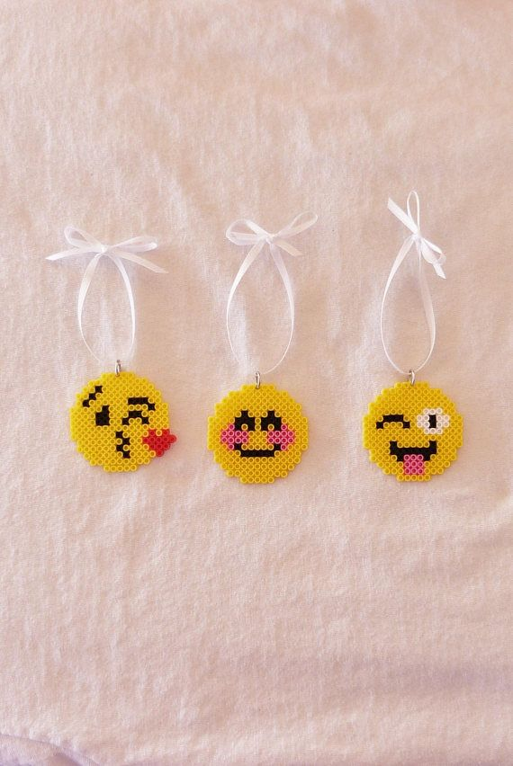 set of 3 emoji christmas tree ornaments made from mini perler