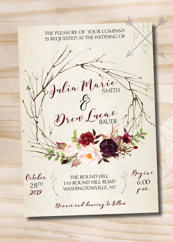 Rustic Wedding Invitation Response Card Invitation Suite, Watercolor