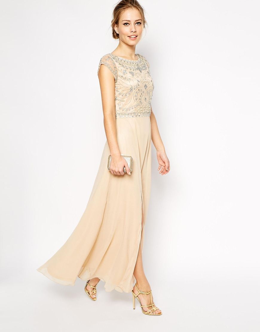 Frock and Frill Embellished Top Maxi Dress with Thigh Split  099527d27