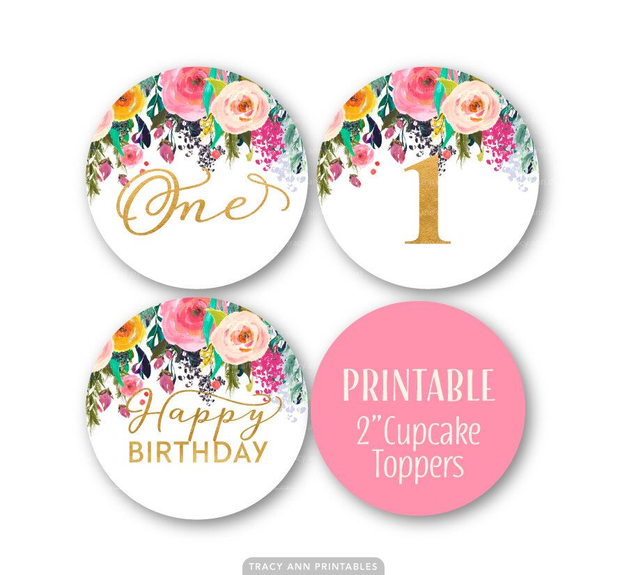 First Birthday Cupcake Toppers, 1st Birthday Decor