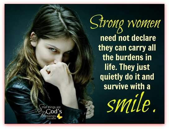 Strong women smile amidst difficulties and challenges