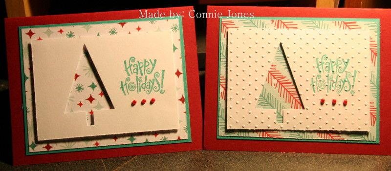 Simple Christmas cards, maybe with 1 but not 6. I just did ansembling line. My daughter asked me to make one with the darker background in which I think I like it better, overall I think these are ok.
