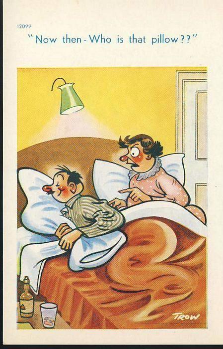 Bedtime Humour drunk man & wife Vintage Comic Postcard refB1
