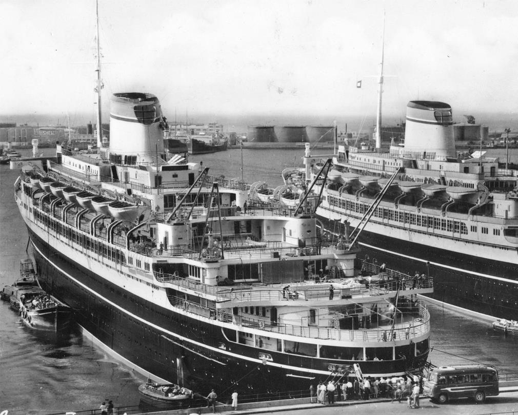 Cristoforo Columbo And Andrea Doria At Genoa Ocean Liners - Columbo cruise ship