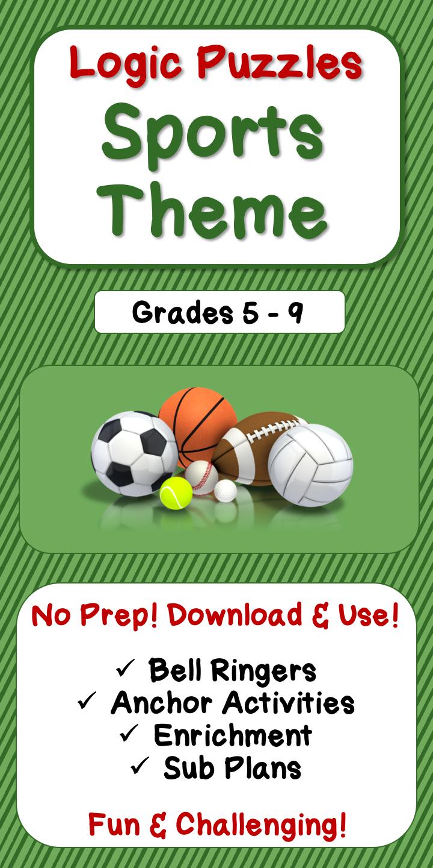 Middle School Logic Puzzle Bundle - Sports Theme ...