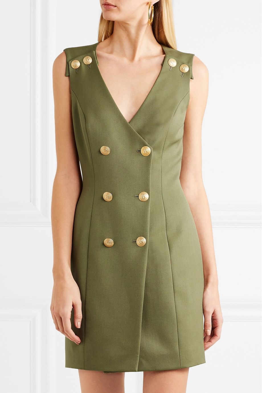 Double-breasted Wool-twill Mini Dress - Army green Balmain Limited Edition Cheap Price BTePy