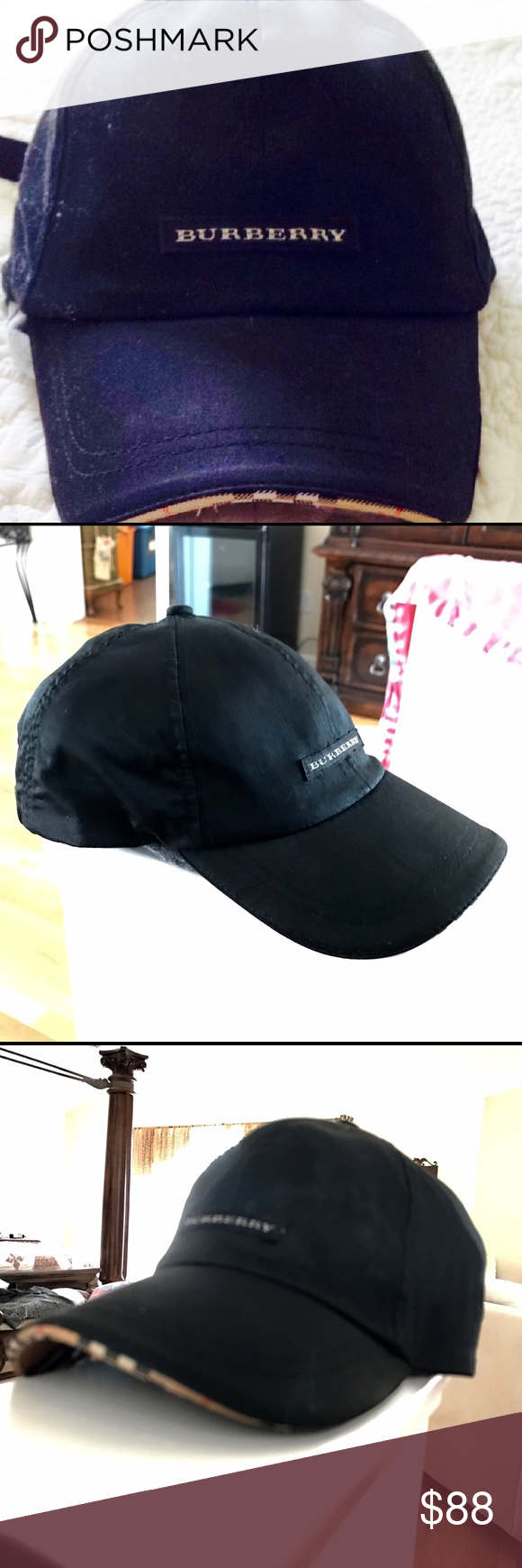 Burberry Baseball Cap Authentic Burberry. GUC. Black Golf cap. Cotton.  Adjustable strap buckle. Classic Burberry plaid lined bill and piping.  Burberry ... 3db5cd009f2