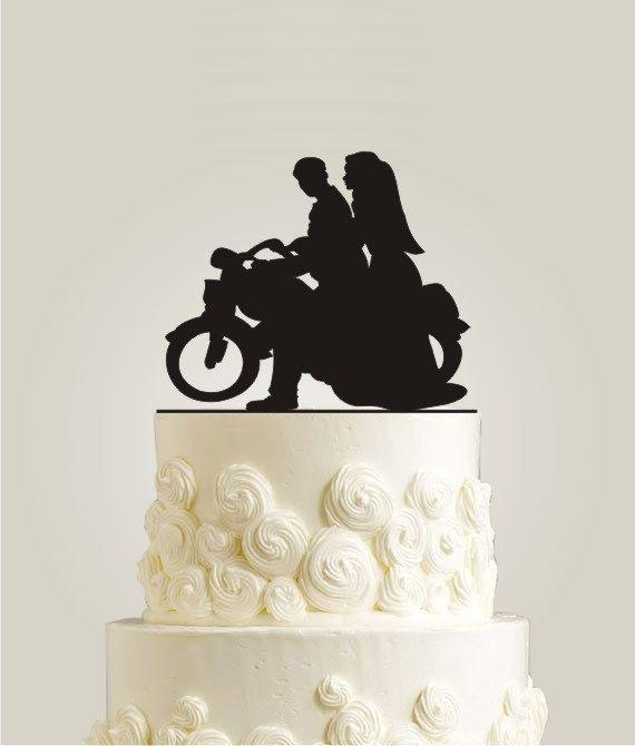 Motorcycle Cake Topper Burlap Wedding By LaserDesignShop
