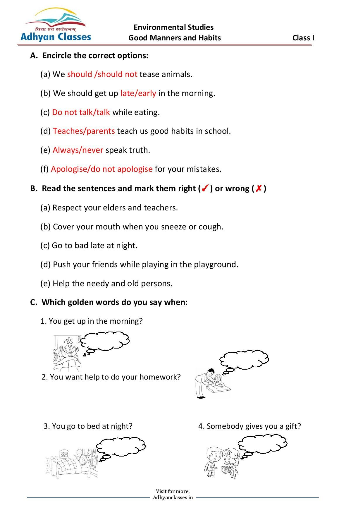 Good Manners And Habits Worksheet For Grade I In