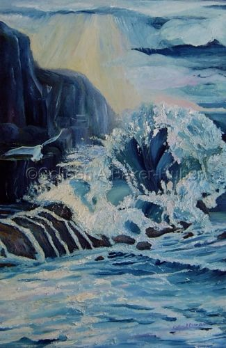 The Big Splash, this is one of my favorite oils. I use to do all my own canvases but probably wont again until I do the large canvases again. This is also part palette knife. If you have ever taken PCH (Pacific Coast Highway) to Newport there is a huger cliff that juts out just outside Laguna Beach on the left. The water when the tide is up crashes into that cliff and it is so exciting. I had to paint it and the gulls do stay out of the way.