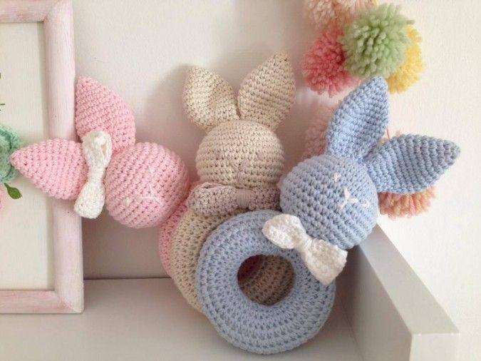 Sonajeros tejidos crochet 100% algodon - Artesanal | Feria Central