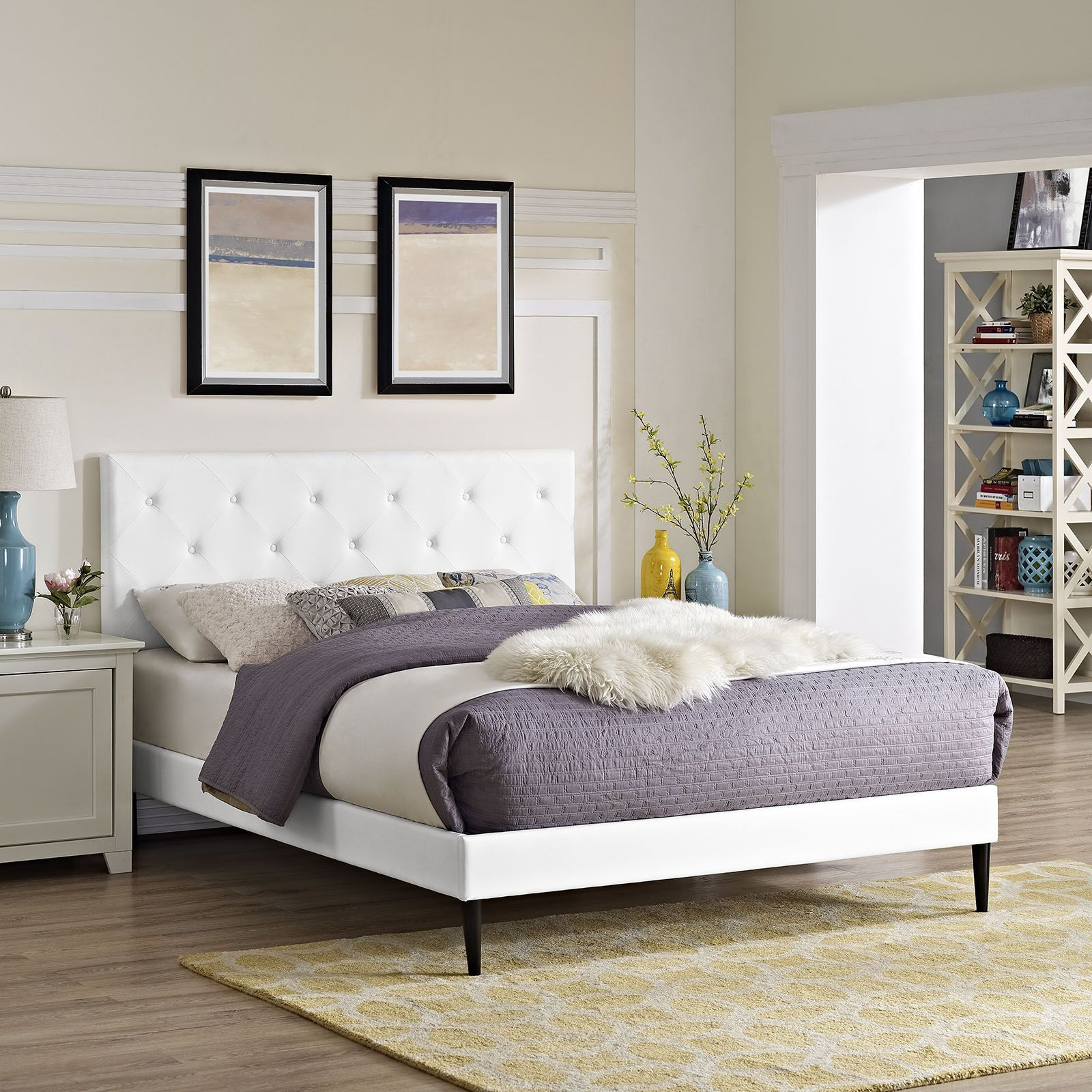 terisa queen vinyl platform bed with round tapered legs white