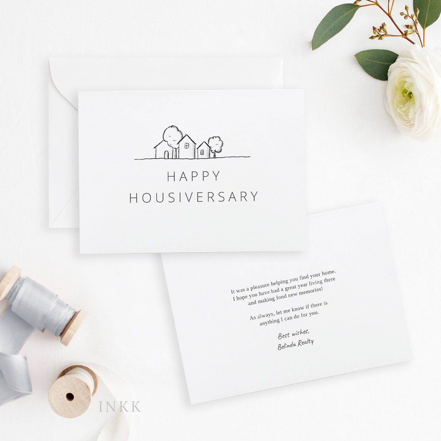 modern happy home anniversary card realtor to client