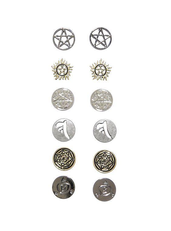 Supernatural Symbol Stud Earring 6 Pair Set Supernatural Symbols
